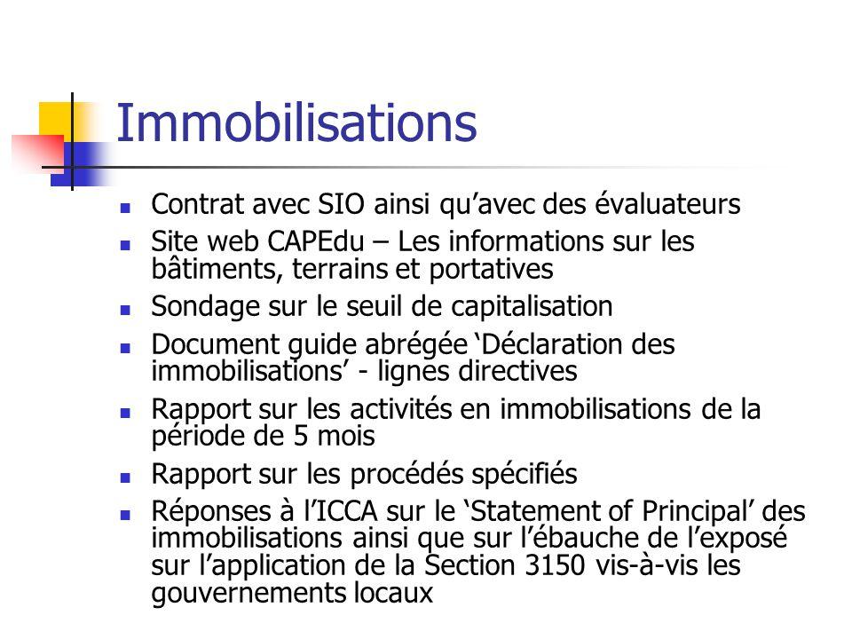 Immobilisations Contrat avec SIO ainsi qu'avec des évaluateurs