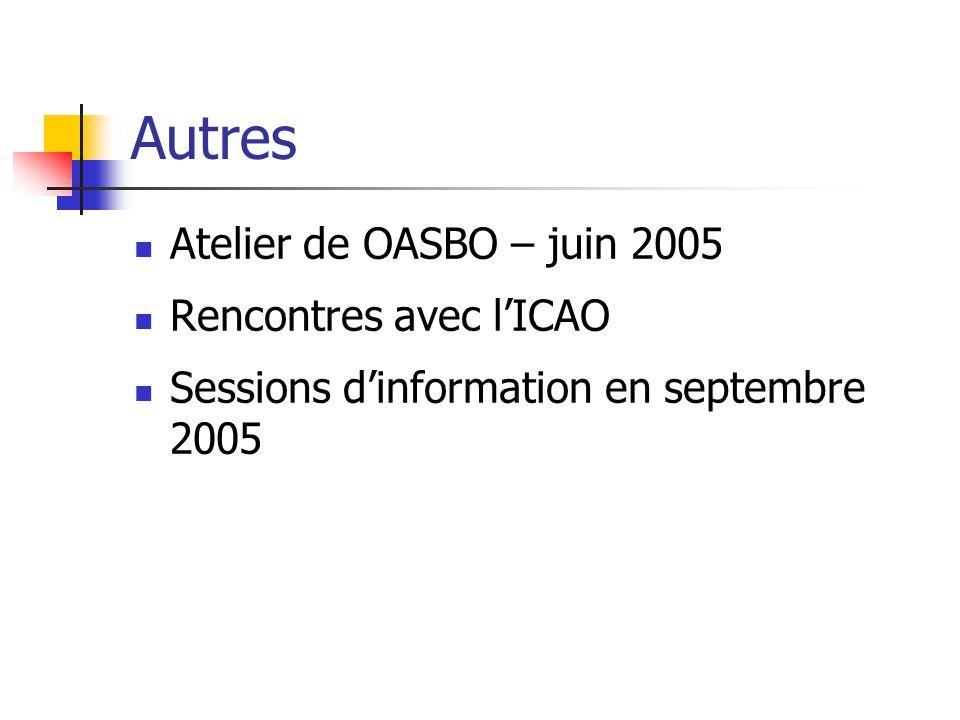 Autres Atelier de OASBO – juin 2005 Rencontres avec l'ICAO