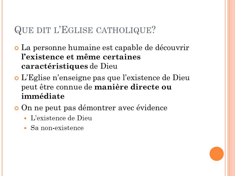 Que dit l'Eglise catholique