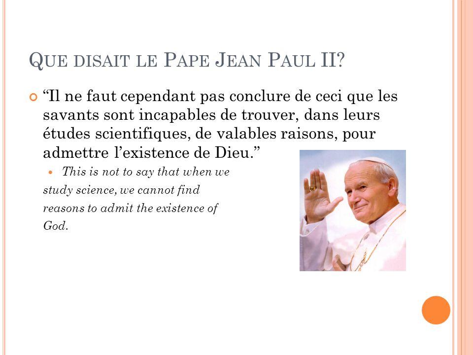 Que disait le Pape Jean Paul II