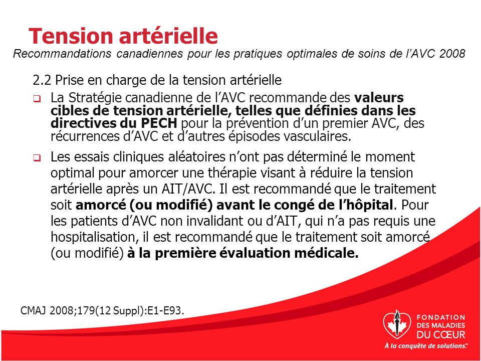Tension artérielle 2.2 Prise en charge de la tension artérielle