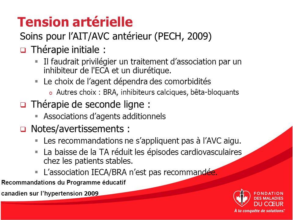 Tension artérielle Soins pour l'AIT/AVC antérieur (PECH, 2009)