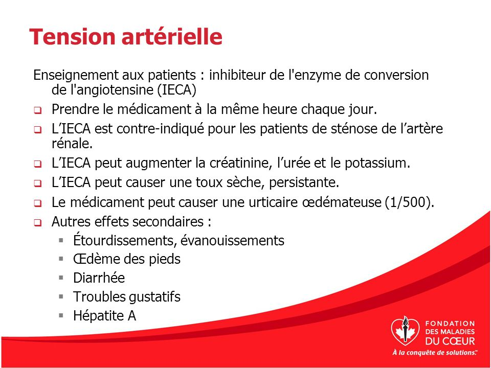 Tension artérielle Enseignement aux patients : inhibiteur de l enzyme de conversion de l angiotensine (IECA)