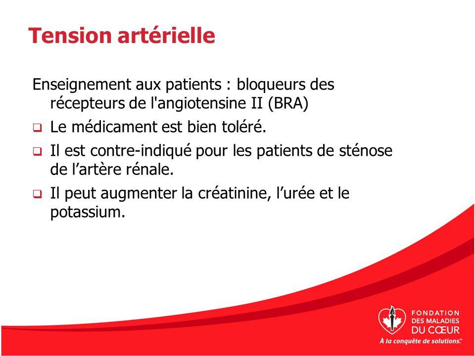 Tension artérielle Enseignement aux patients : bloqueurs des récepteurs de l angiotensine II (BRA)