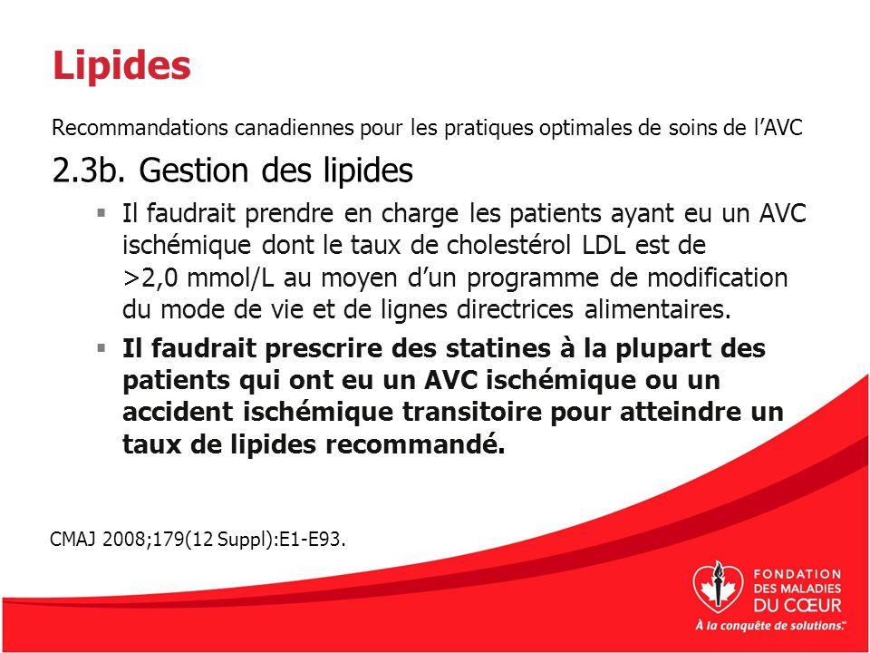 Lipides 2.3b. Gestion des lipides