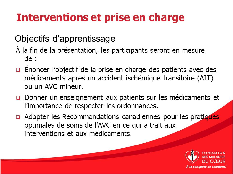 Interventions et prise en charge
