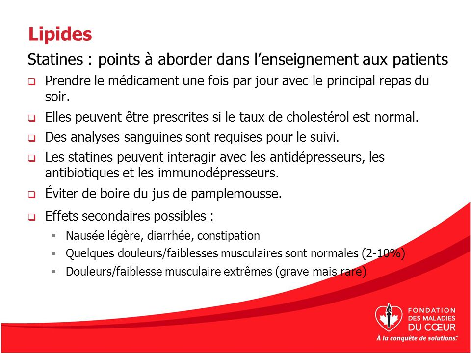 Lipides Statines : points à aborder dans l'enseignement aux patients