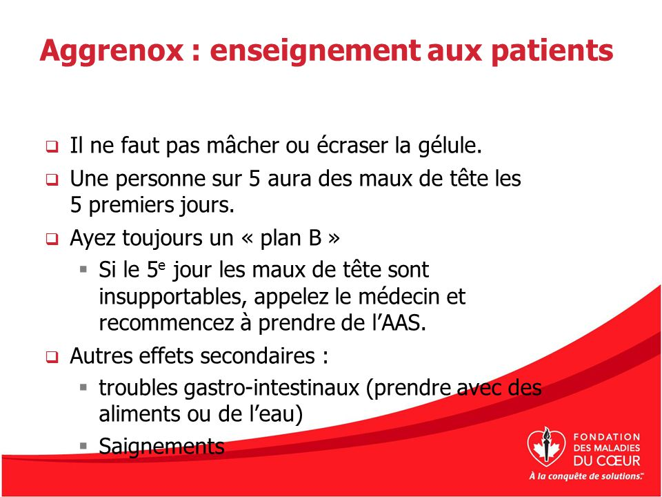 Aggrenox : enseignement aux patients