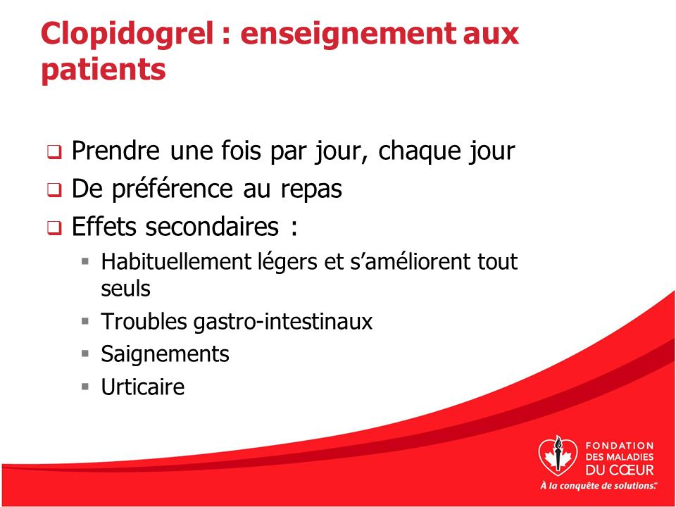 Clopidogrel : enseignement aux patients