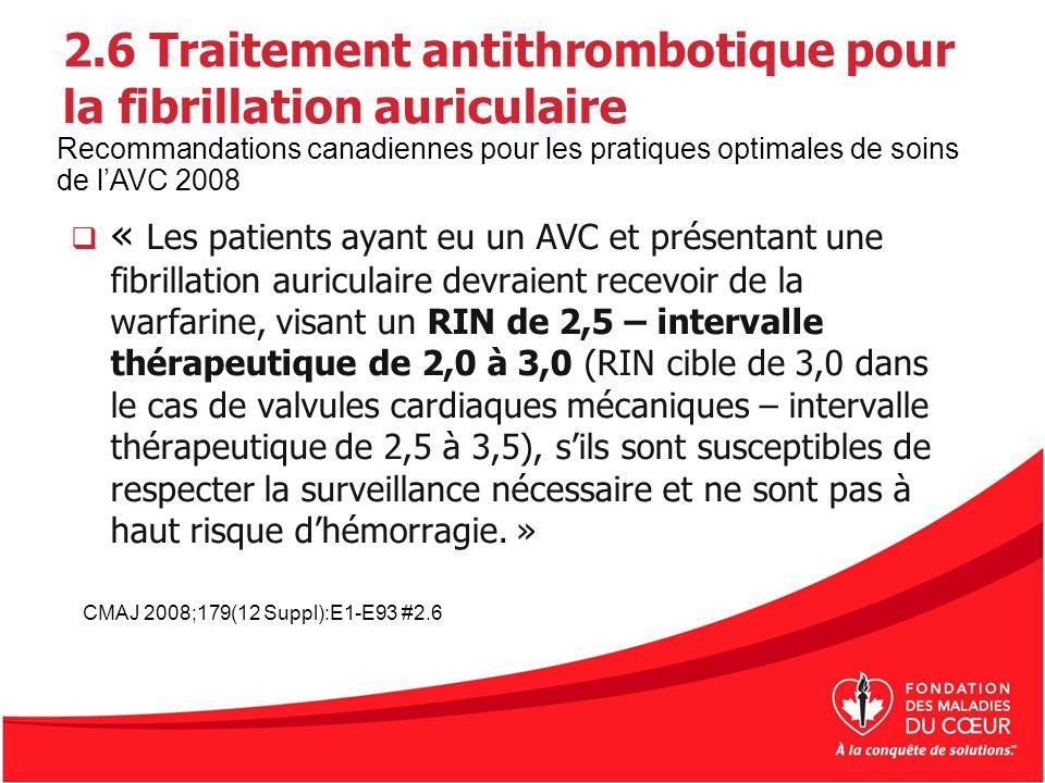 2.6 Traitement antithrombotique pour la fibrillation auriculaire