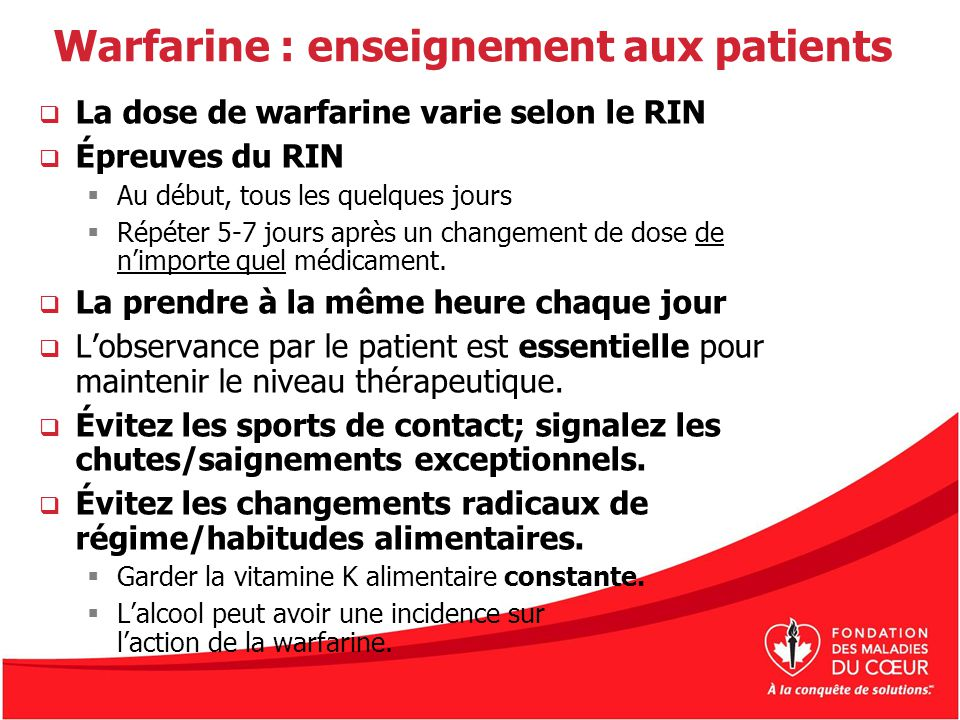 Warfarine : enseignement aux patients