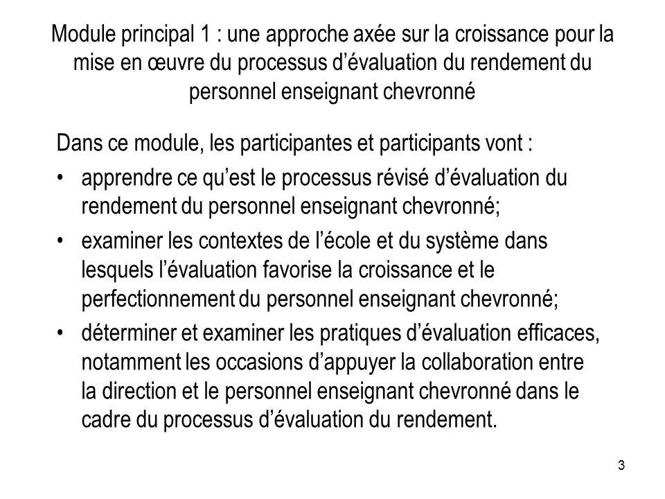 Module principal 1 : une approche axée sur la croissance pour la mise en œuvre du processus d'évaluation du rendement du personnel enseignant chevronné