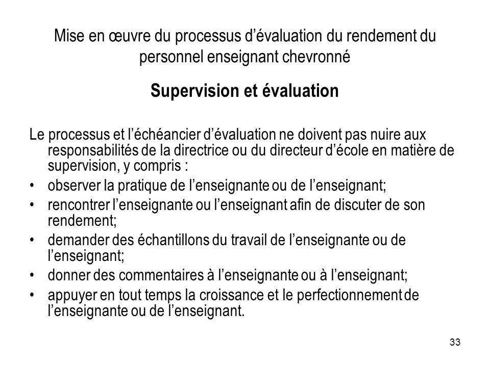 Supervision et évaluation