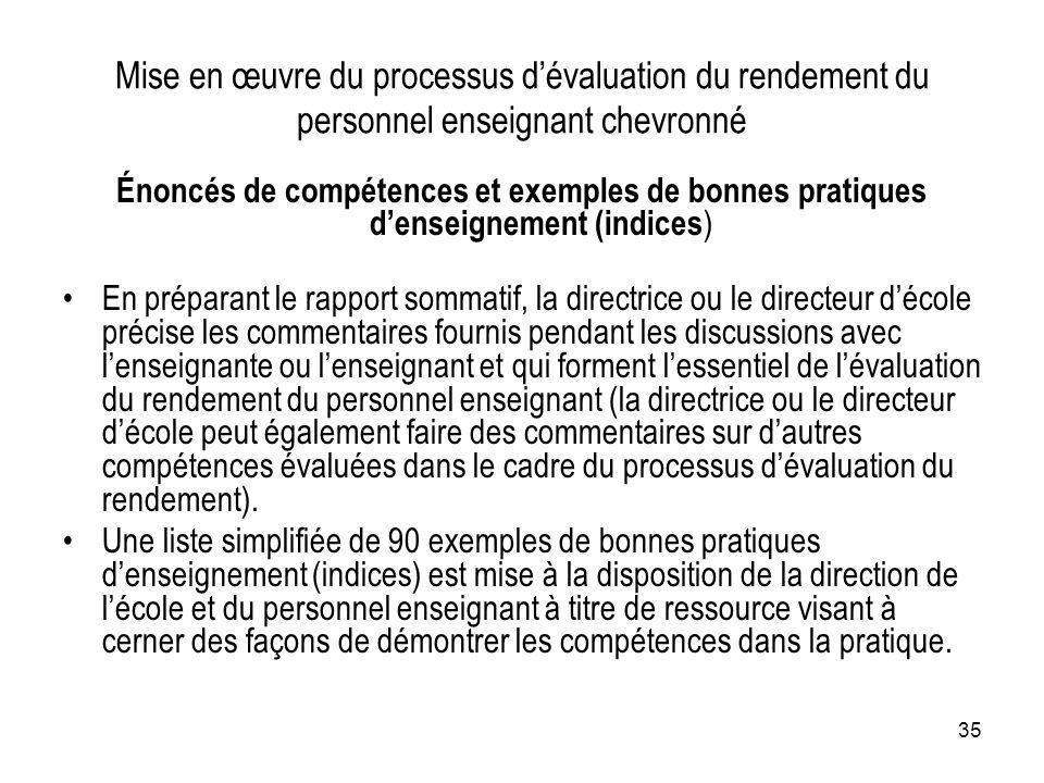 Mise en œuvre du processus d'évaluation du rendement du personnel enseignant chevronné