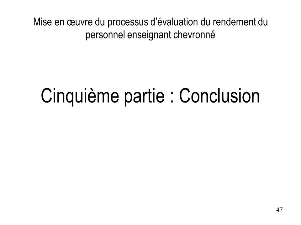Cinquième partie : Conclusion