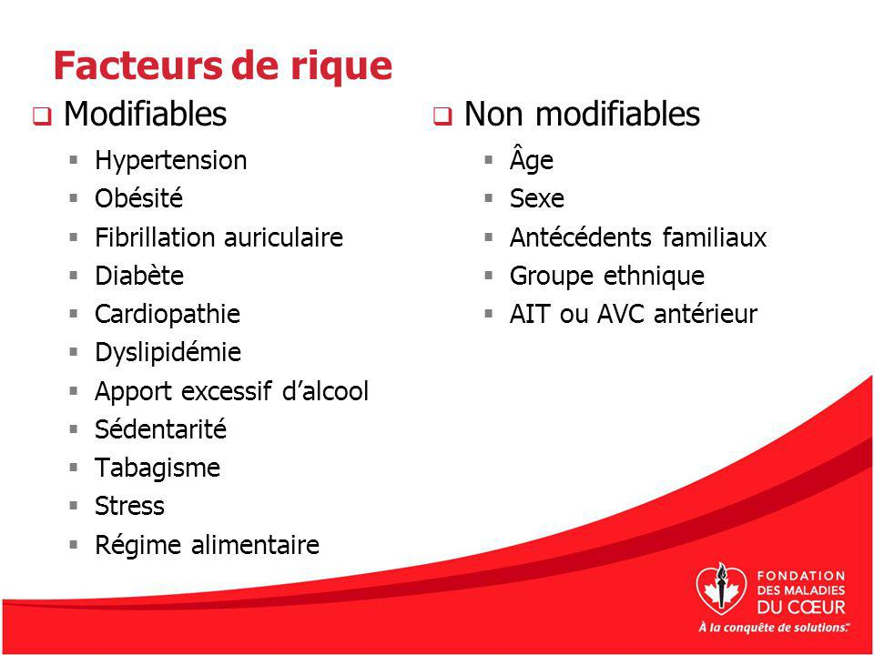 Facteurs de rique Modifiables Non modifiables Hypertension Obésité
