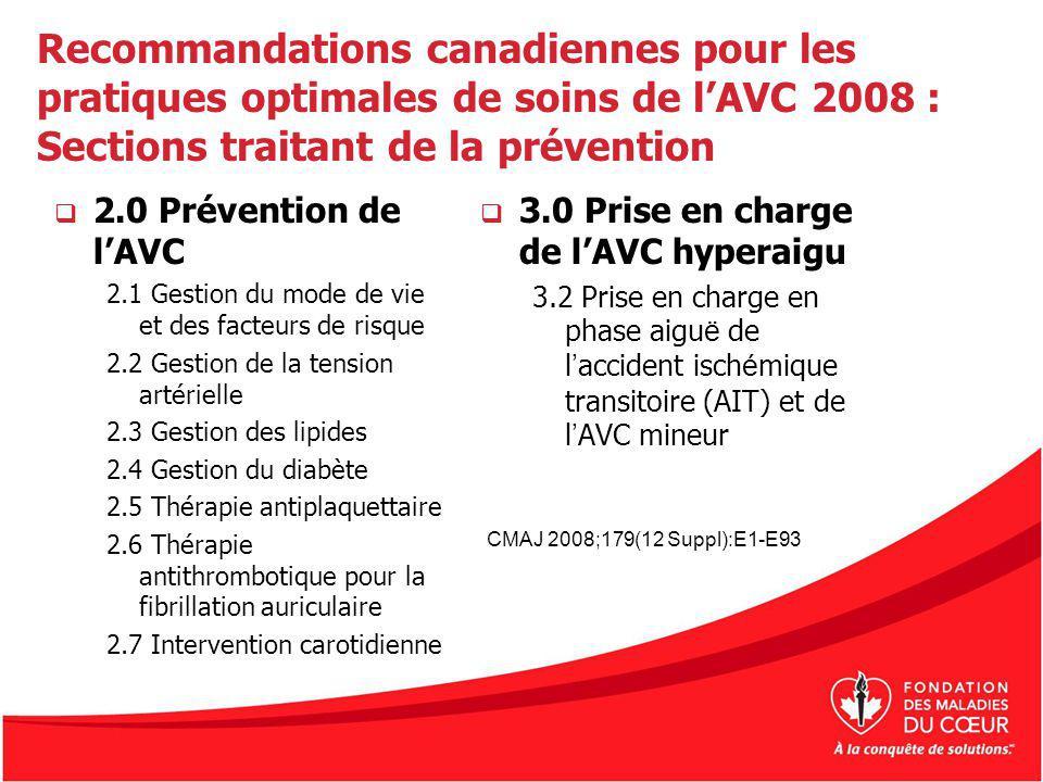 Recommandations canadiennes pour les pratiques optimales de soins de l'AVC 2008 : Sections traitant de la prévention