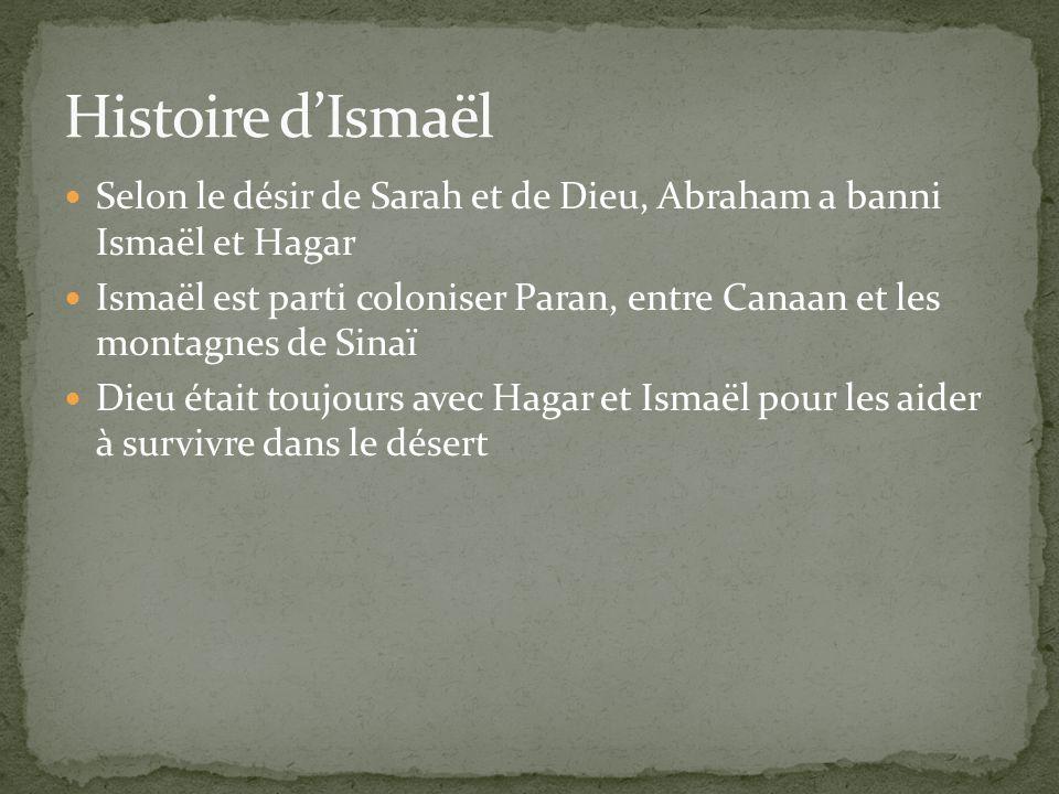 Histoire d'Ismaël Selon le désir de Sarah et de Dieu, Abraham a banni Ismaël et Hagar.