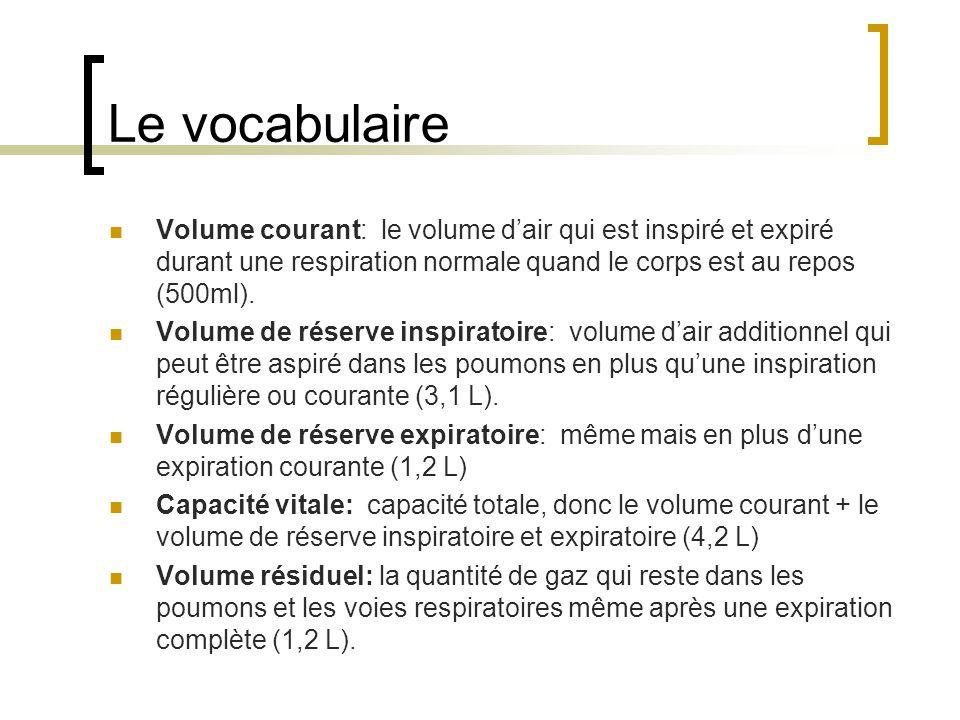 Le vocabulaire Volume courant: le volume d'air qui est inspiré et expiré durant une respiration normale quand le corps est au repos (500ml).