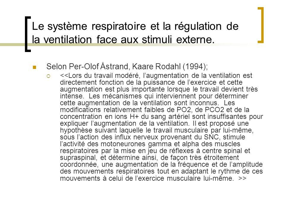 Le système respiratoire et la régulation de la ventilation face aux stimuli externe.