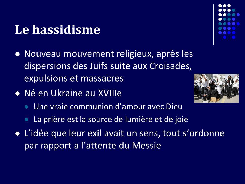 Le hassidisme Nouveau mouvement religieux, après les dispersions des Juifs suite aux Croisades, expulsions et massacres.
