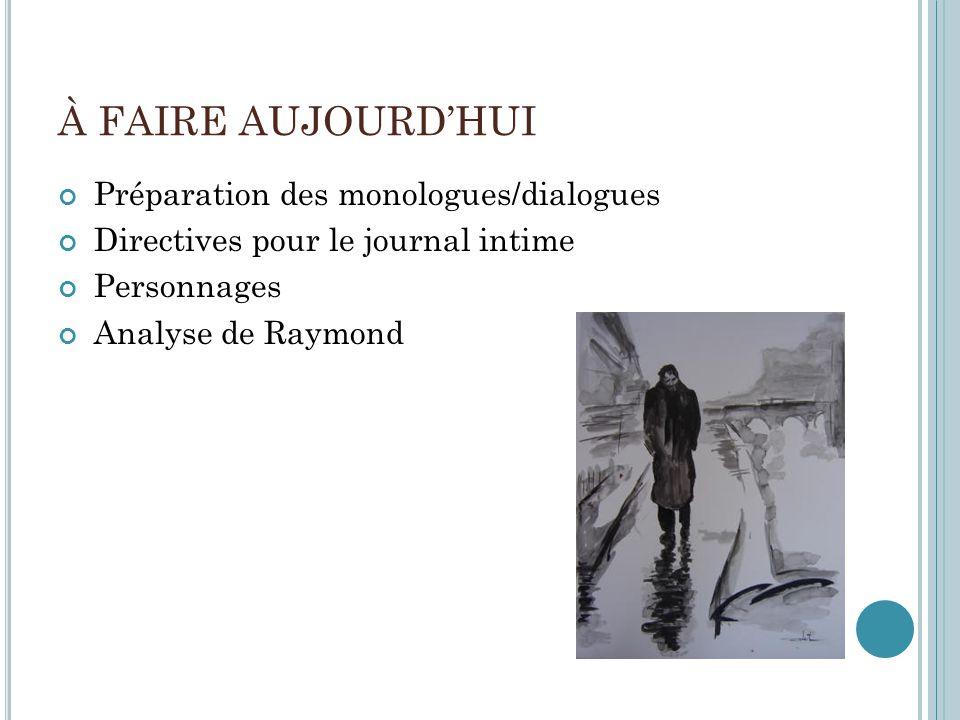 À FAIRE AUJOURD'HUI Préparation des monologues/dialogues