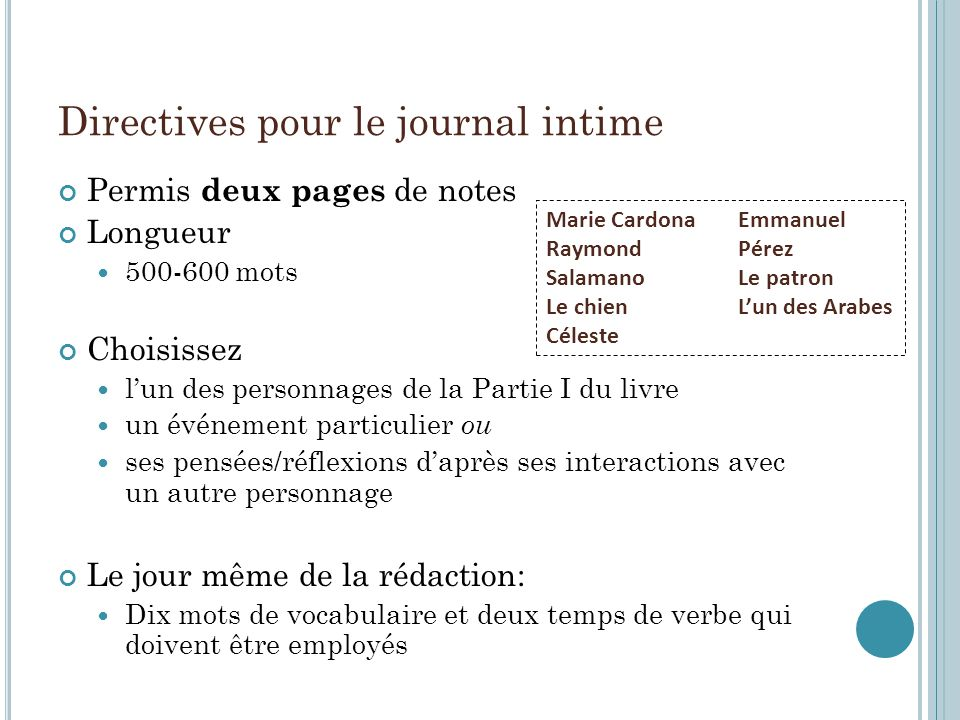 Directives pour le journal intime