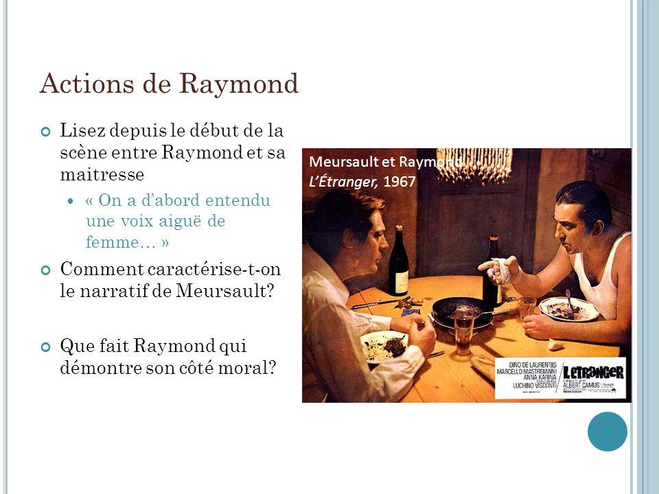 Actions de Raymond Lisez depuis le début de la scène entre Raymond et sa maitresse. « On a d'abord entendu une voix aiguë de femme… »