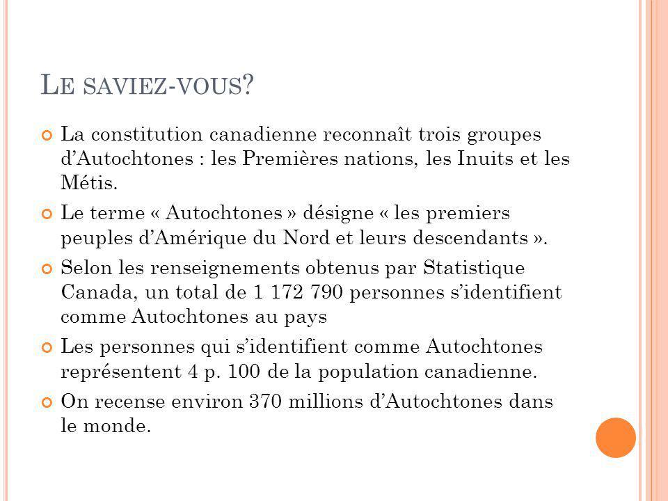 Le saviez-vous La constitution canadienne reconnaît trois groupes d'Autochtones : les Premières nations, les Inuits et les Métis.