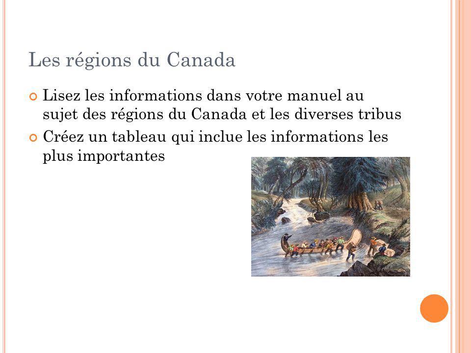 Les régions du Canada Lisez les informations dans votre manuel au sujet des régions du Canada et les diverses tribus.