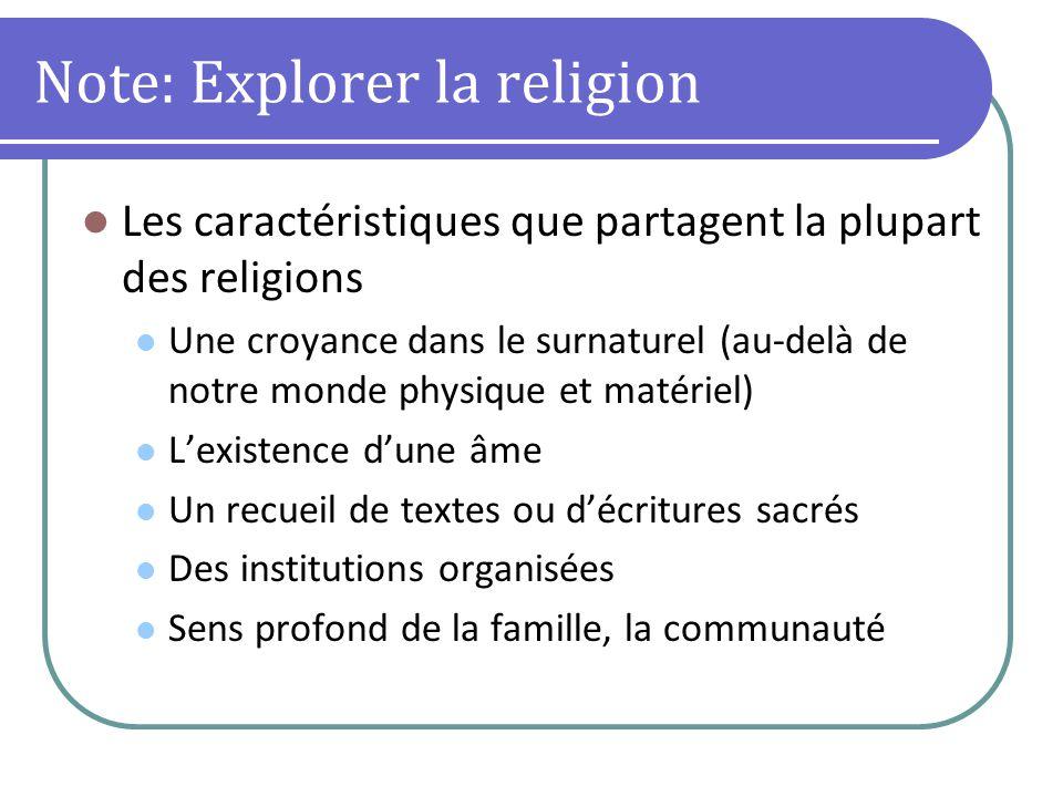 Note: Explorer la religion