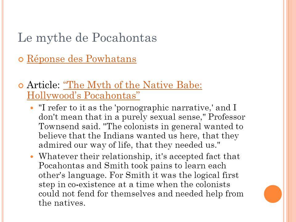 Le mythe de Pocahontas Réponse des Powhatans
