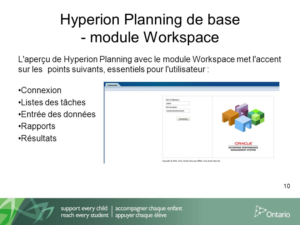 Hyperion Planning de base - module Workspace