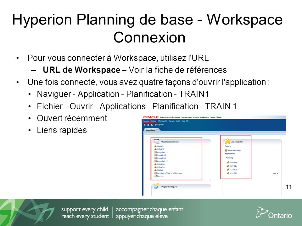 Hyperion Planning de base - Workspace Connexion