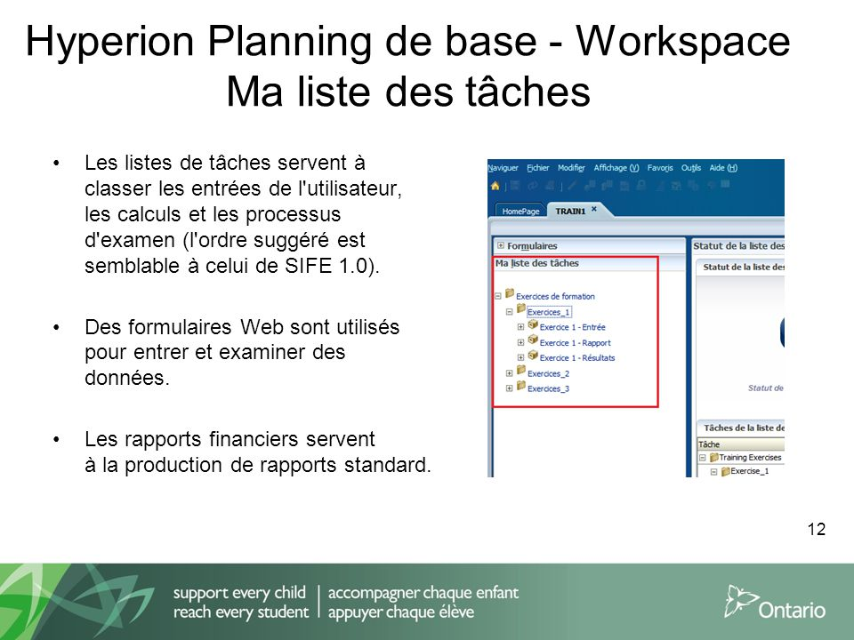 Hyperion Planning de base - Workspace Ma liste des tâches