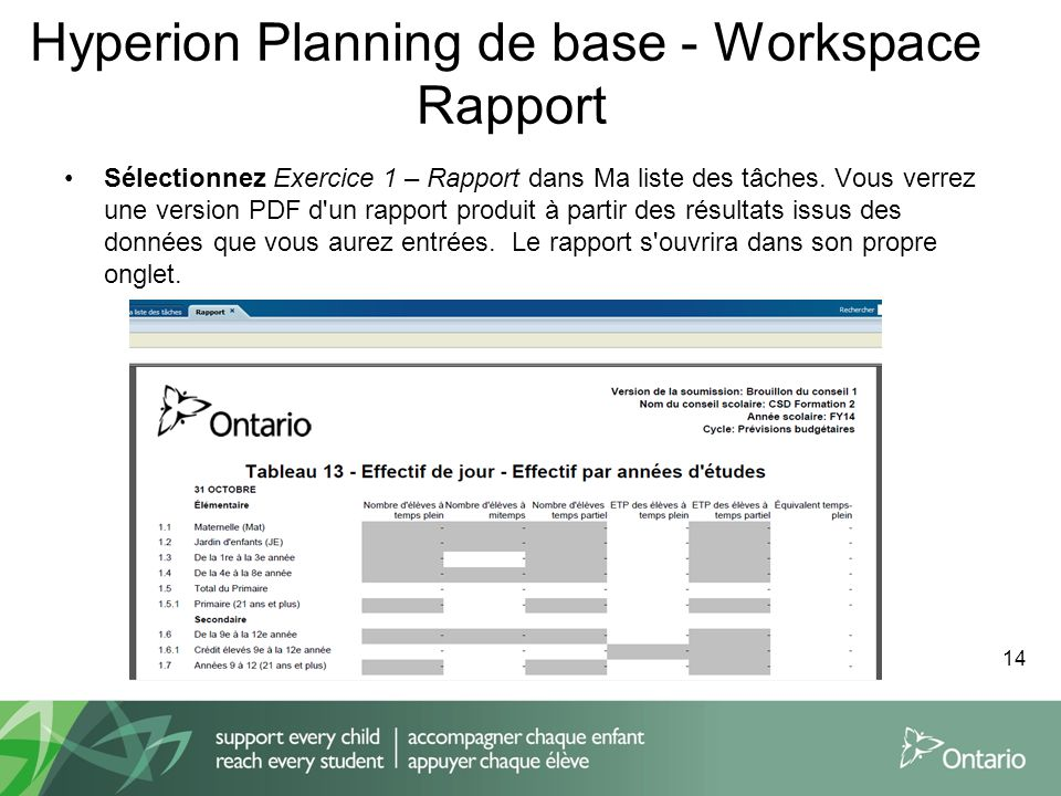 Hyperion Planning de base - Workspace Rapport