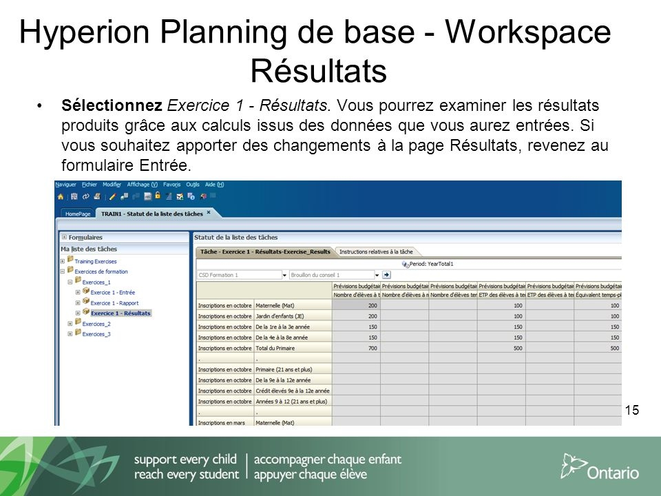 Hyperion Planning de base - Workspace Résultats