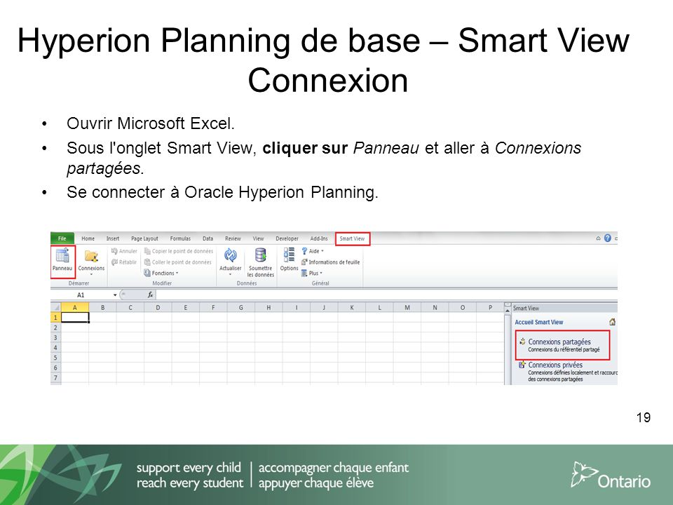 Hyperion Planning de base – Smart View Connexion