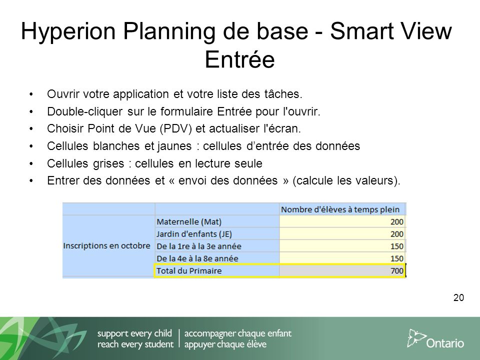 Hyperion Planning de base - Smart View Entrée