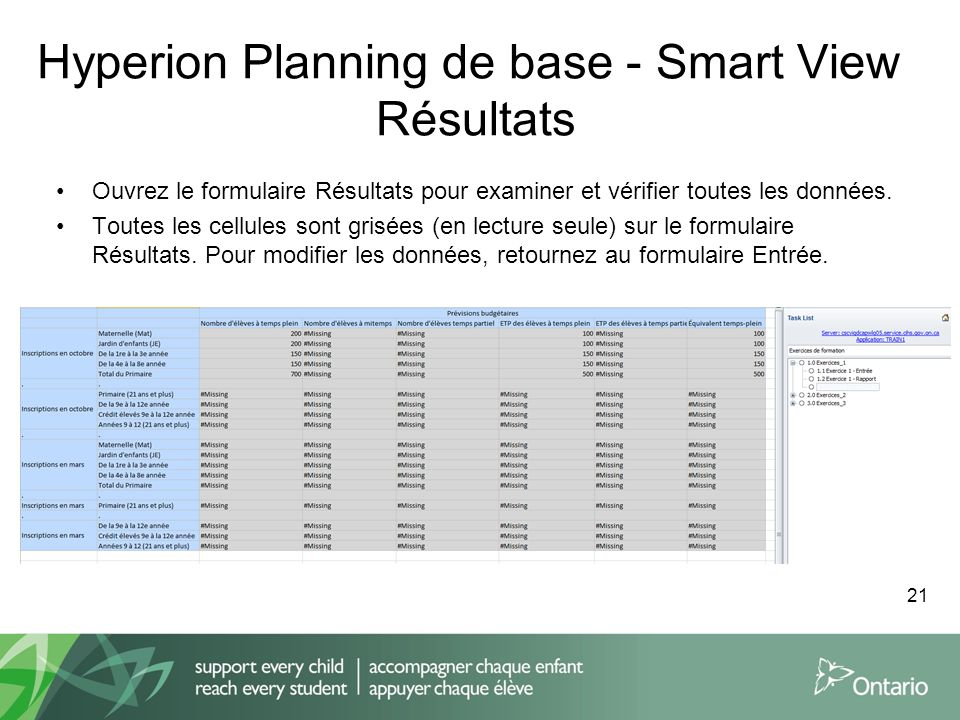 Hyperion Planning de base - Smart View Résultats