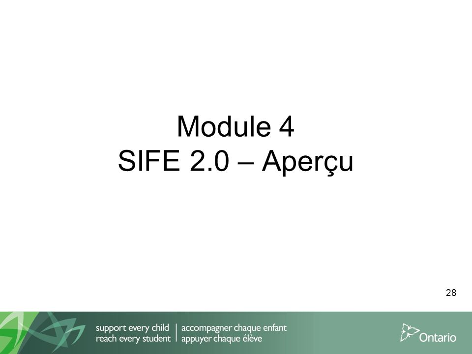 Module 4 SIFE 2.0 – Aperçu