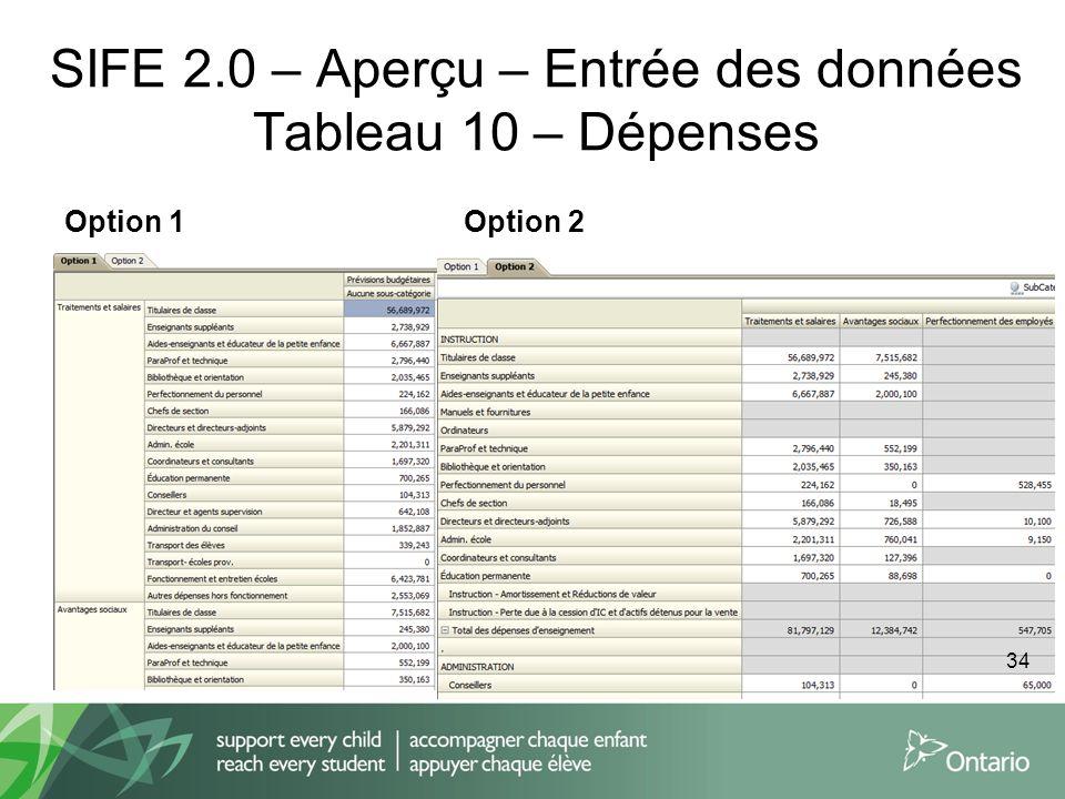 SIFE 2.0 – Aperçu – Entrée des données Tableau 10 – Dépenses