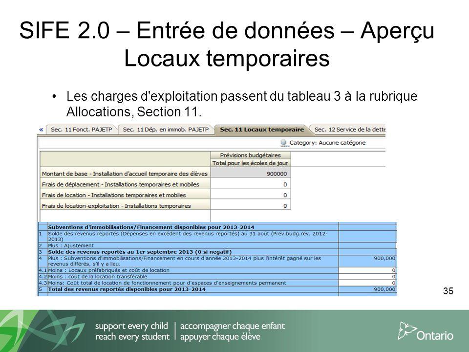 SIFE 2.0 – Entrée de données – Aperçu Locaux temporaires