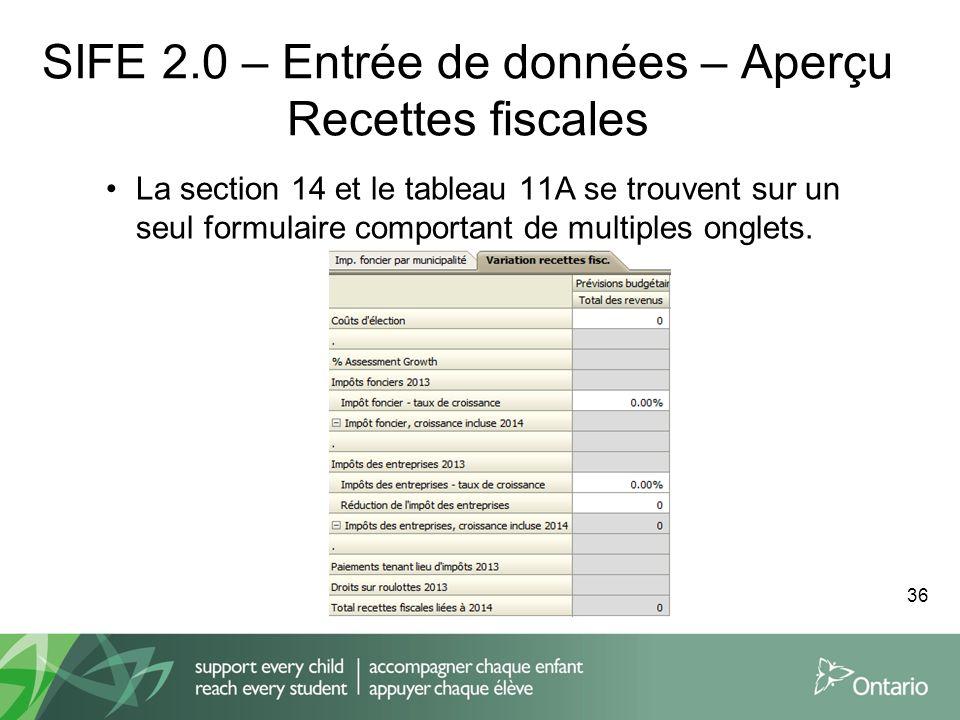 SIFE 2.0 – Entrée de données – Aperçu Recettes fiscales