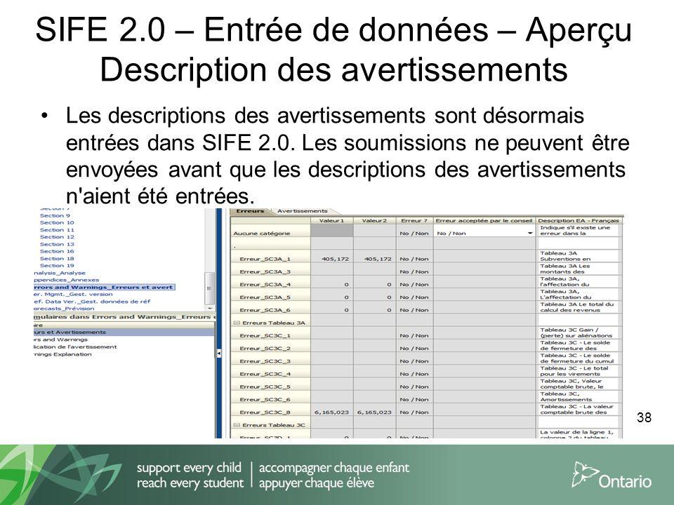 SIFE 2.0 – Entrée de données – Aperçu Description des avertissements