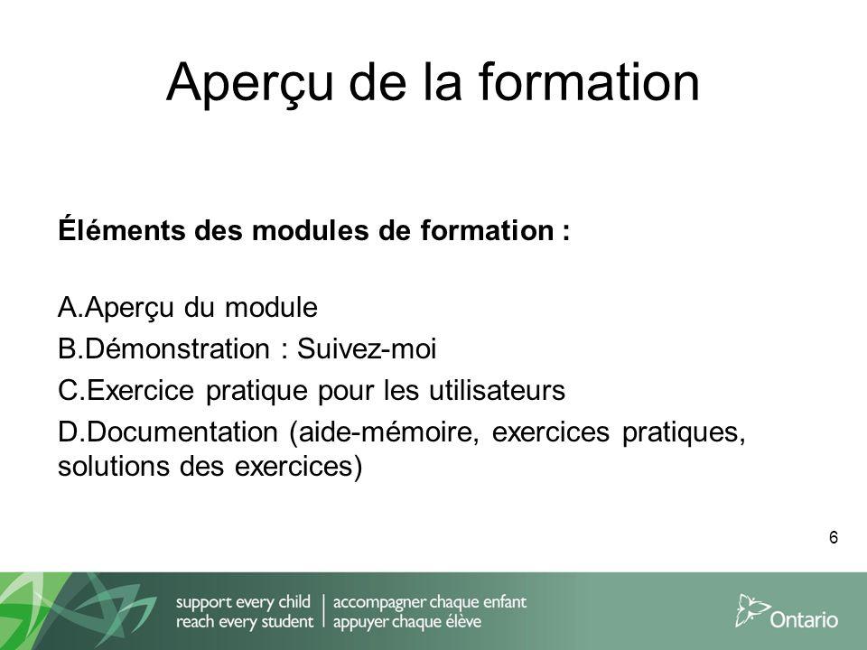 Aperçu de la formation Éléments des modules de formation :