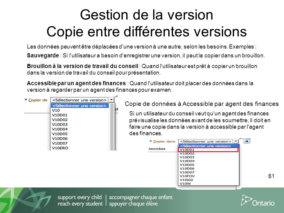 Gestion de la version Copie entre différentes versions