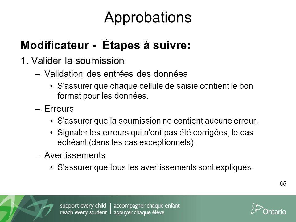 Approbations Modificateur - Étapes à suivre: 1. Valider la soumission