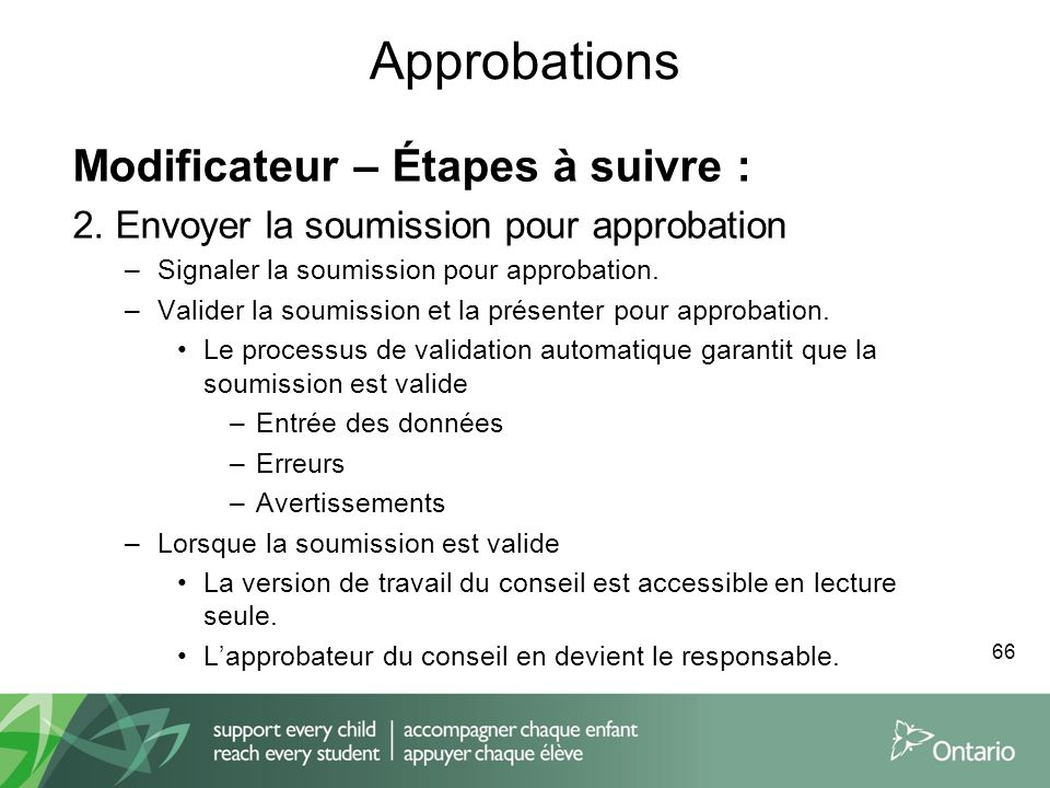 Approbations Modificateur – Étapes à suivre :