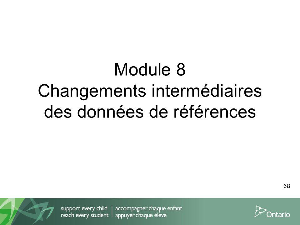 Module 8 Changements intermédiaires des données de références